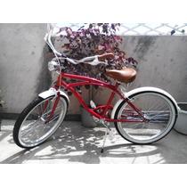 Excelente Bicicleta Vintage Rodada 24 Color Rojo Unisex.