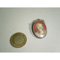 Antiguo Prendedor Sobre Plata 800 Pintura Miniatura