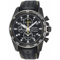 Reloj Seiko Sportura Aviator Cronógrafo Piel Negra Snae67