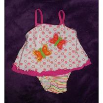 Baby Buns Lindo Traje Baño Tipo Vestidito Con Mariposas 1año