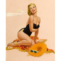 Lienzo En Tela Pin Up Girl 60 X 40 Cm Artista Al Buell