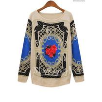 Suku 70963 Blusa Tejida Cuello De Barco Moda Japón $799