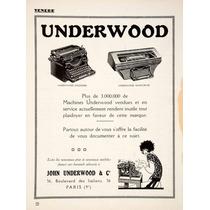 Lienzo Tela Anuncio Máquina Escribir Underwood 1924 70x50 Cm