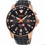 Reloj Seiko Kinetic Sportura Gmt Piel Negra Dorado Sun028p1