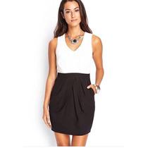 Vestido Forever21 Blanco Negro
