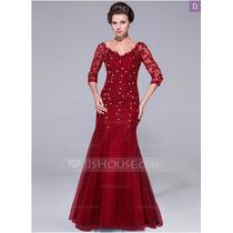 Vestido De Fiesta Noche Largo Color Burgundy (rojo Obscuro)