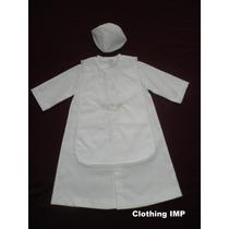 Nuevo Hermoso Ropon Bautizo Blanco Para Bebe 6 - 12 Meses