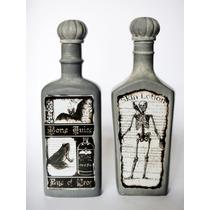 Florero Botella Calaca Esqueleto Halloween Altar Murciélago
