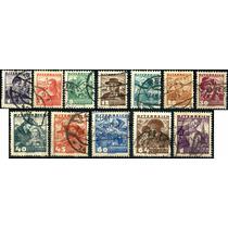 1251 Austria Personajes Regionales 12 Sellos Usados 1934-35