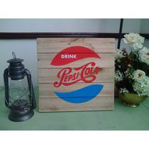 Cuadro Anuncio Letrero Vintage Pepsi Antiguo Madera
