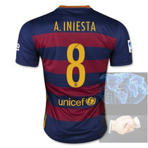 Jersey #8 Iniesta Barcelona Roja Azul Nike 2016 Local Player