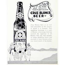 Lienzo Tela Publicidad Cerveza Cruz Blanca 1941 80 X 50 Cm