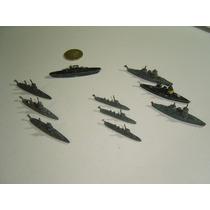 Juguete Antiguo Barcos Barquitos Diez Piezas En Metal