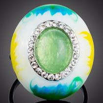 Anillo Oval Pintado Oleo Con Cristales Swarovski Chapa Rodio