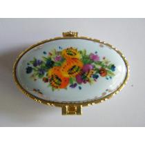 Caja De Porcelana Forma Ovalada Floral