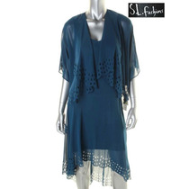 Envio Vestido 8 De 2 Pz Desnivel Largo Azul Saco Conjunto Ve