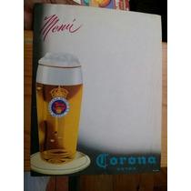 Hoja De Menú Sin Usar Cerveza Corona Extra Cervecería Modelo