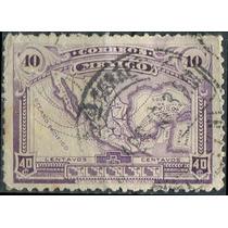 1495 México Mapa Sin Filigrana Violeta 40c Usado 1917-20