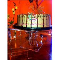 Base Pastelera Acrilico Gruesa Porta Cupcakes, 35x35x20 Alto