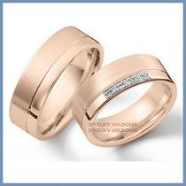Argollas Matrimoniales Mod. Athena En Oro Rosa 14k Solido