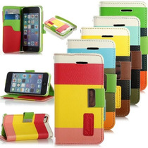 Funda Cartera Multicolor Arcoiris Iphone 4 4s 5 5s + Regalo