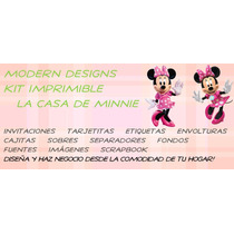 Kit Imprimible Casa De Minnie Mouse Adornos Invitaciones Y+