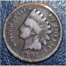 Moneda 1 Centavo Cabeza De Indio 1891 Indian Head