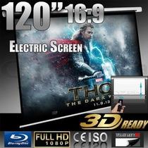 Pantalla Electrica Proyector 120pl Hd 3d 16:9 Envio Gratis