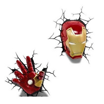 Avengers Vengadores Iron Man, Lampara Led De Pared 3d Niño