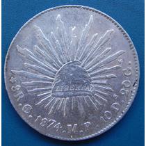 Moneda 8 Reales Culiacán 1874 Mp