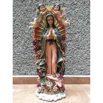 Virgen De Guadalupe Con Angeles Grande 96cm Figura De Resina