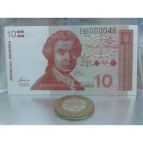 Billete De Croacia Diez Dinares De 1991 ....