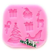 Molde De Silicon Figuras De Navidad Reno Santa Claus
