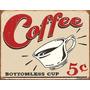 Poster Metalico Litografia Lamina Anuncio Retro Cafe 5c Vint