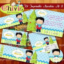 Kit Imprimible Navidad No 8 Tarjetas Invitaciones Candy Bar