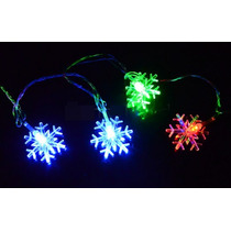 Serie 28 Luces Led Forma Copo De Nieve Frozen 5m Navidad E4f