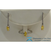 Anillo Y Aretes Diamante Marquise Amarillo Y Brillantes 1ct
