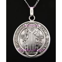 Medallon Grande De San Benito En Plata Ley 0.925
