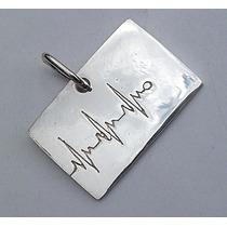 Dije Amor Latido Corazón Electrocardiograma Médico Plata Ley