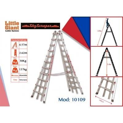 Escalera de aluminio de tijera de dos lados modelo 10109 for Precios de escaleras de tijera de aluminio