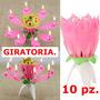 10 Vela Magica Giratoria Musical Flor,cumpleaños,vx Años