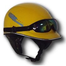 Casco Corto Tipo Alemán Con Lentes De Regalo Chopper Moto