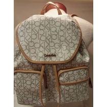 Calvin Klein Hudson Monogram Back Pack Almond Khaki Original