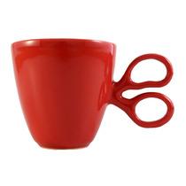 Taza De Ceramica Rojo Diseño Tijera Hecho En México
