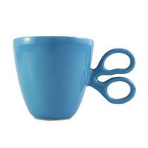 Taza De Ceramica Azul Diseño Tijera Hecho En México