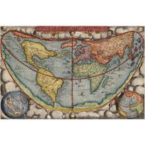 Lienzo Tela Mapa Globo Terráqueo 1578 50 X 77 Cm Cartografía