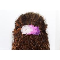 Prendedor Cabello Corrugado Rosa Lila Blanco Cristales Pre30