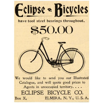 Lienzo Tela Bicicleta Antigua Eclipse 1898 68 X 50 Cm