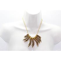 Collar Moda Color Oro Viejo Hojas Doradas Y Pedrería Cc157