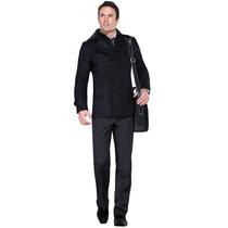 Elegante Abrigo Negro De Paño Cintetico Envio Inmediato